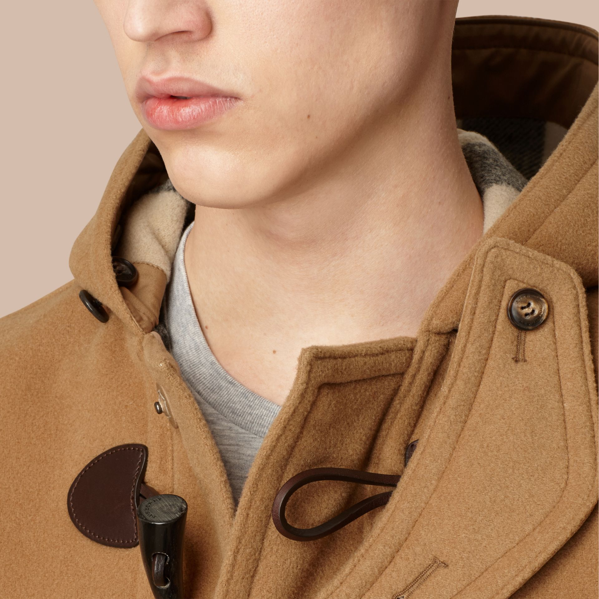 Camel Wool-Blend Duffle Coat Camel - gallery image 2