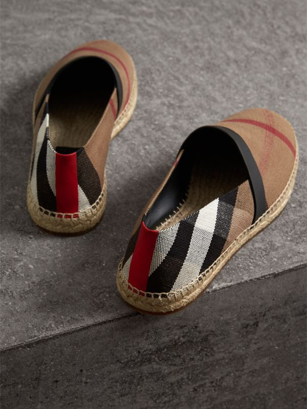 Check Cotton Canvas Seam-sealed Espadrilles in Classic - Men | Burberry - cell image 2