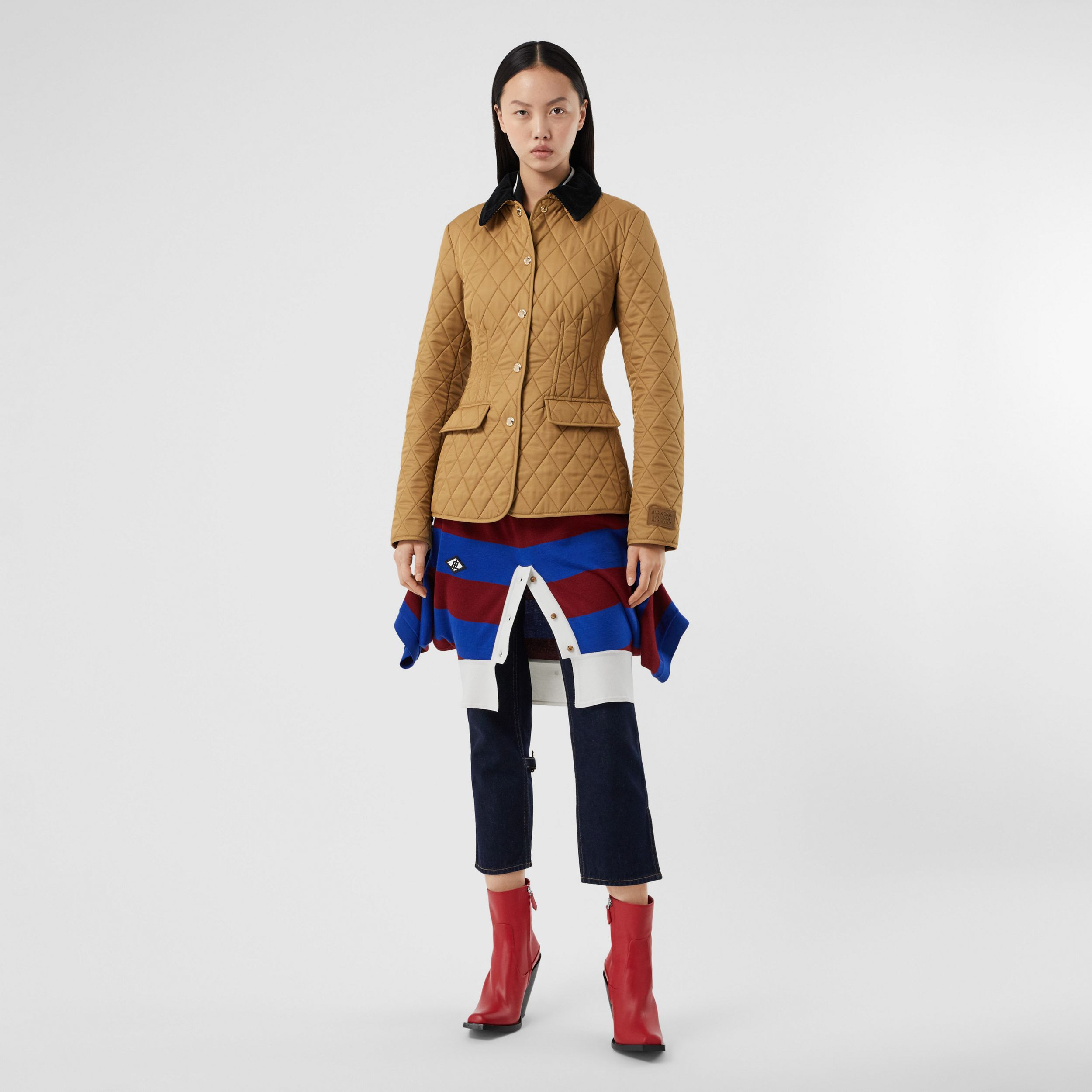Corduroy Collar Diamond Quilted Barn Jacket in Camel - Women | Burberry Hong Kong S.A.R. - 1
