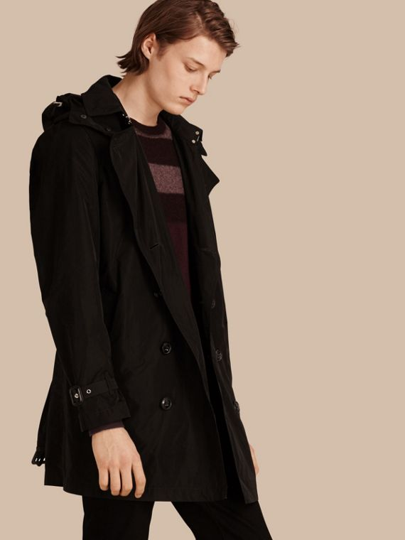 Showerproof Technical Trench Coat with Detachable Hood