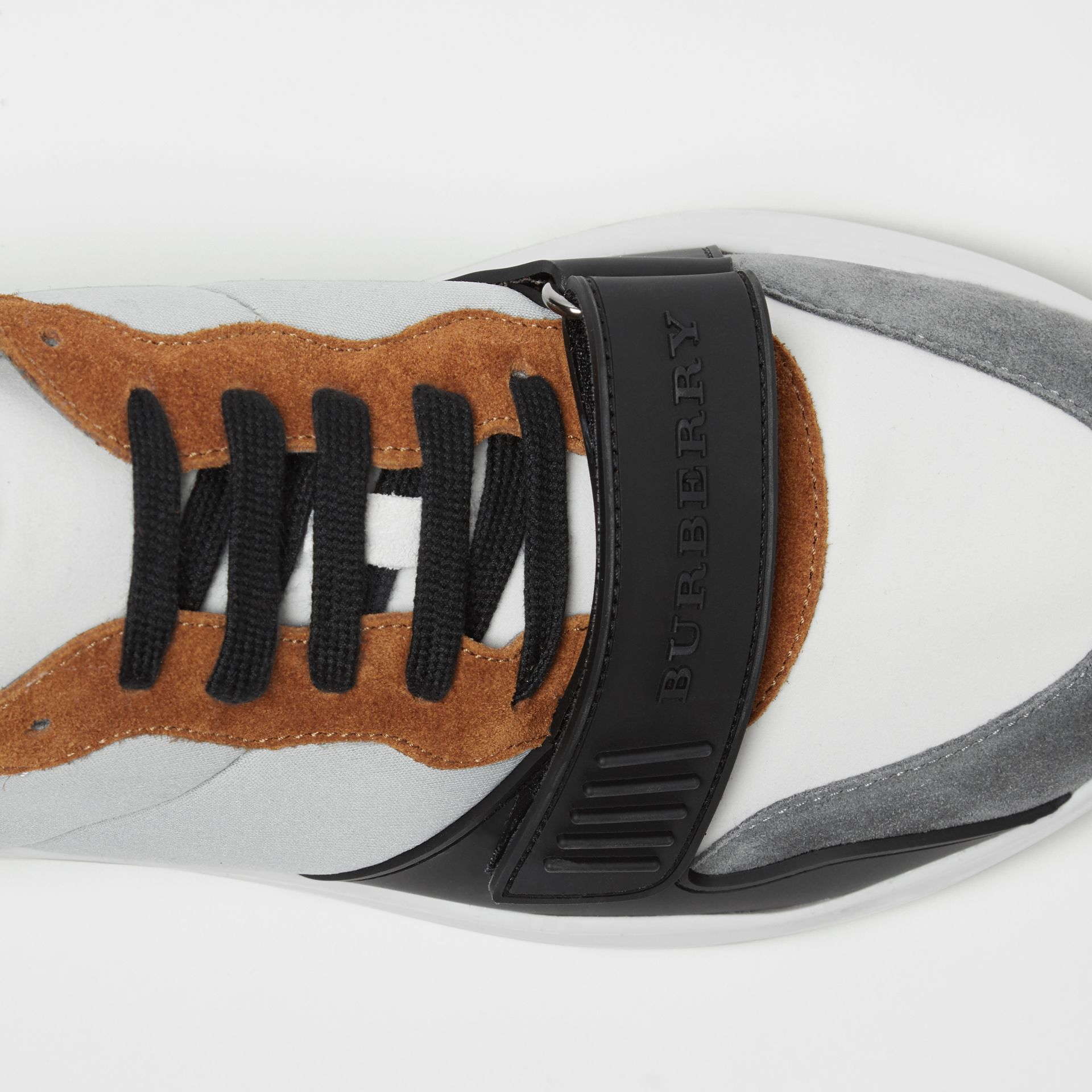 Suede, Neoprene and Leather Sneakers in Light Grey - Men | Burberry - gallery image 1