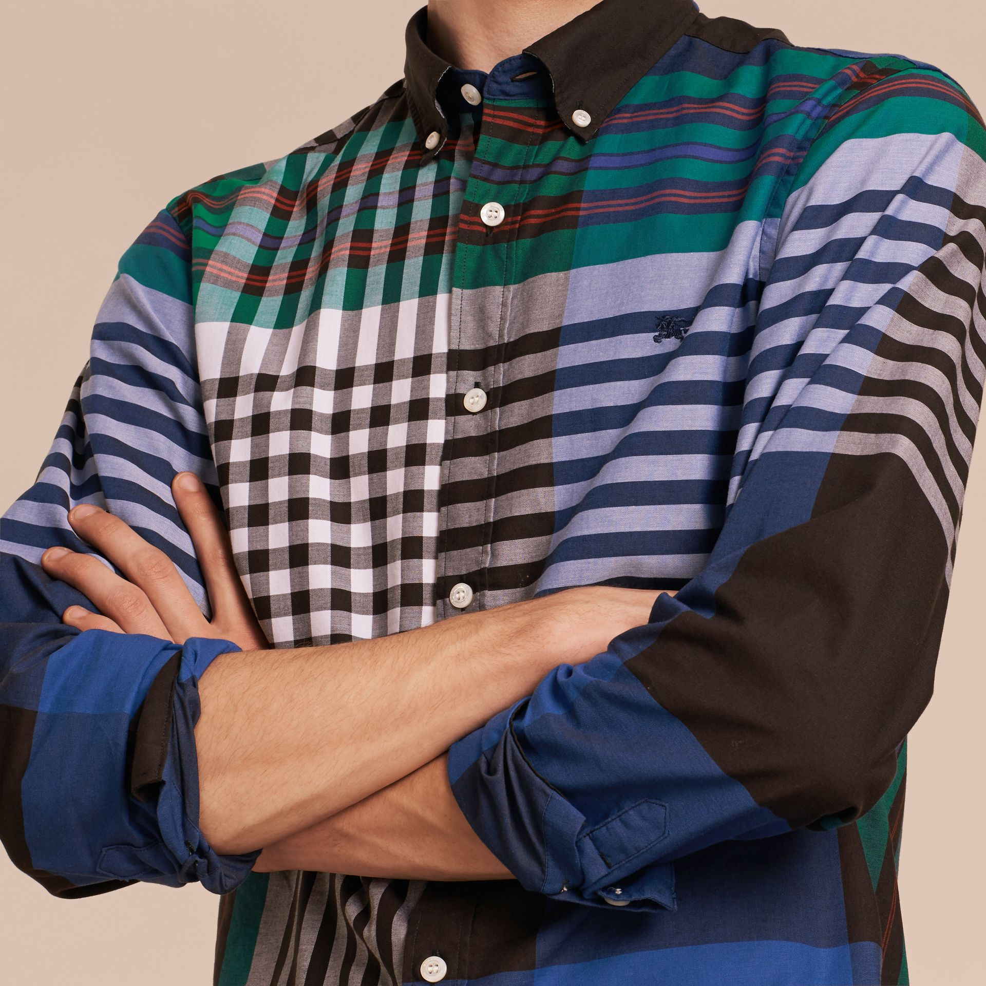 Graphic Tartan Cotton Shirt in Brilliant Blue - gallery image 5