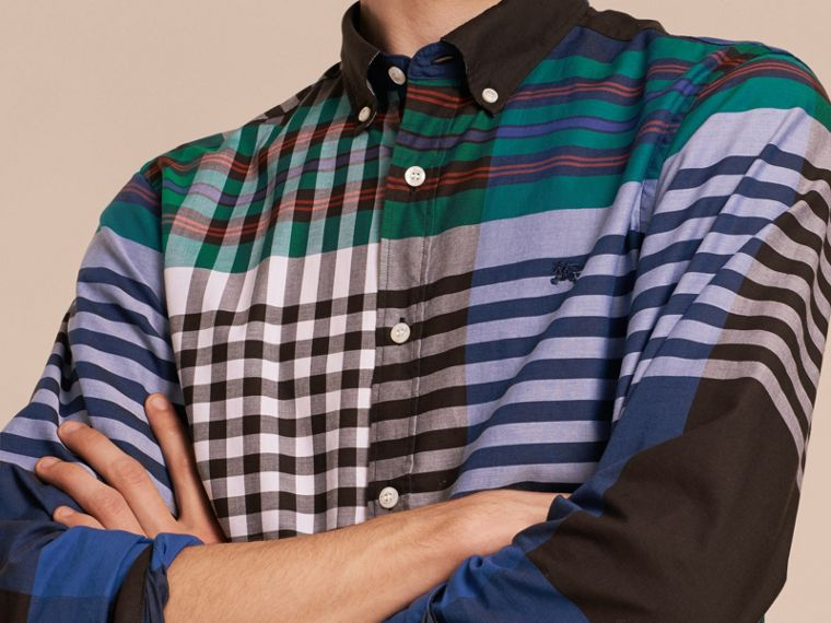 Graphic Tartan Cotton Shirt in Brilliant Blue - cell image 4