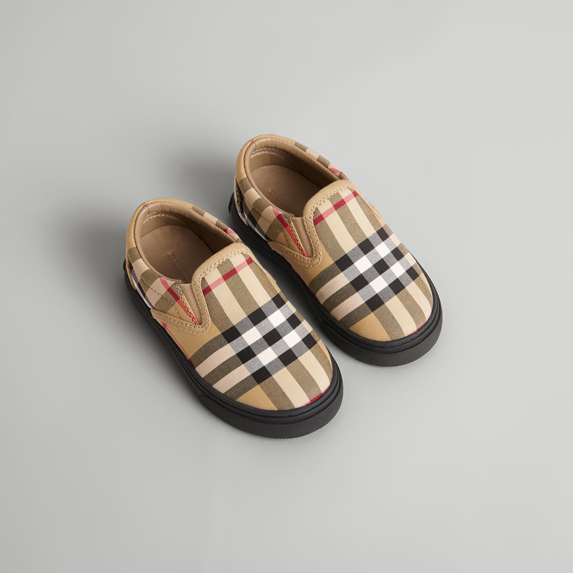 Vintage Check and Leather Slip-on Sneakers in Antique Yellow/black - Children | Burberry United Kingdom - gallery image 0