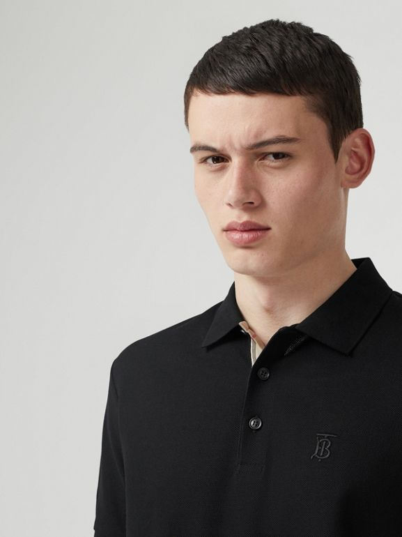 Monogram Motif Cotton Piqué Polo Shirt in Black - Men | Burberry United Kingdom - cell image 1