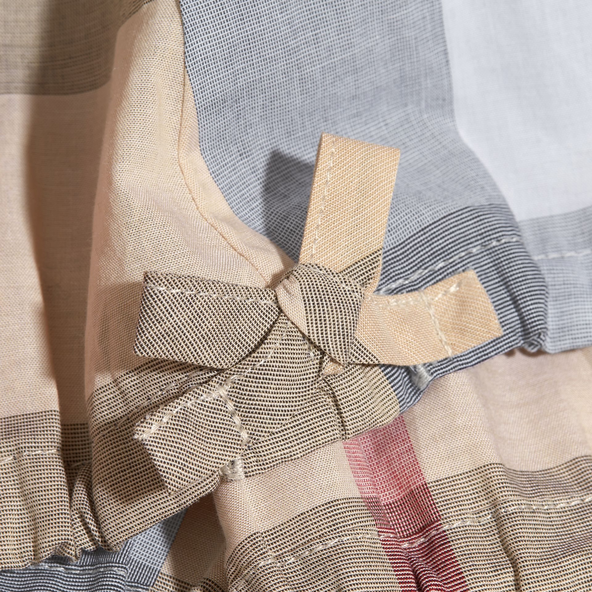 Gathered Check Cotton Top in Pale Stone - Girl | Burberry - gallery image 2