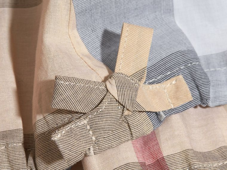 Gathered Check Cotton Top in Pale Stone - Girl | Burberry - cell image 1