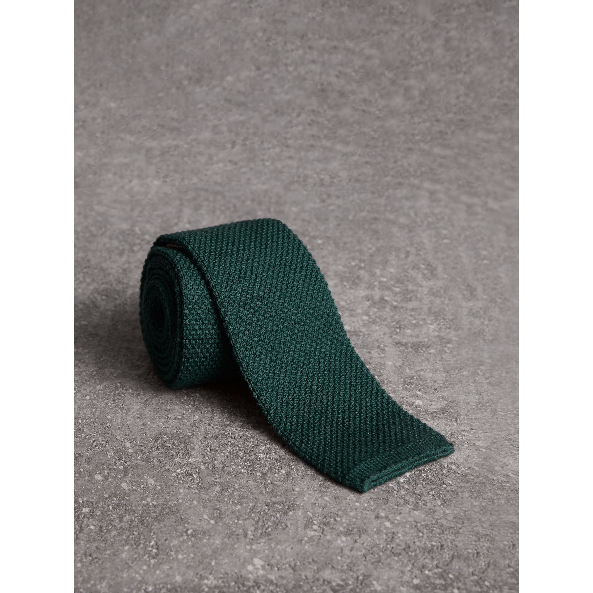 Slim Cut Waffle Knit Wool Tie in Dark Forest Green - Men | Burberry - gallery image 0