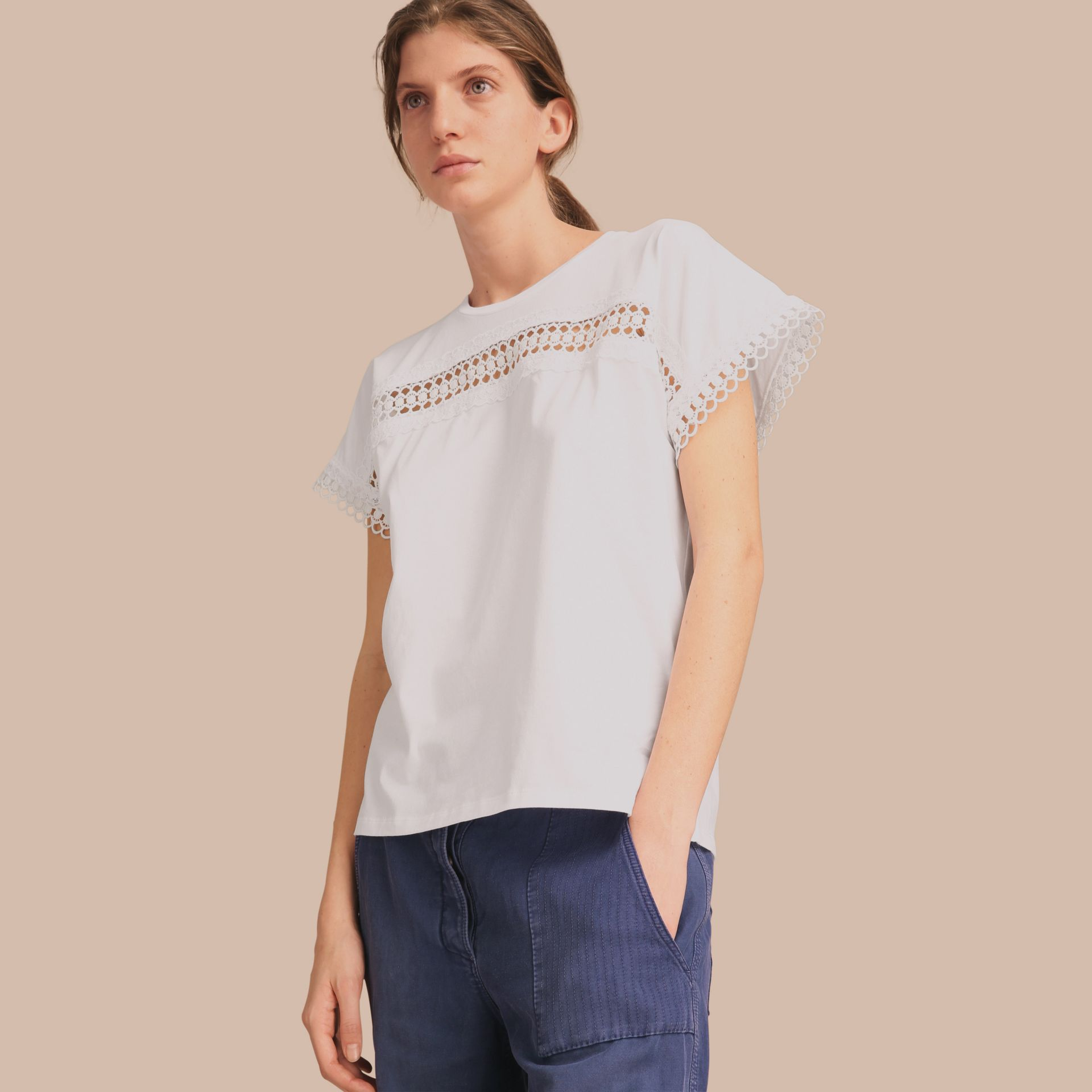 Lace Detail Cotton T-shirt White - gallery image 1
