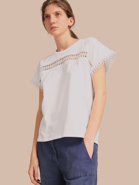 Lace Detail Cotton T-shirt in White