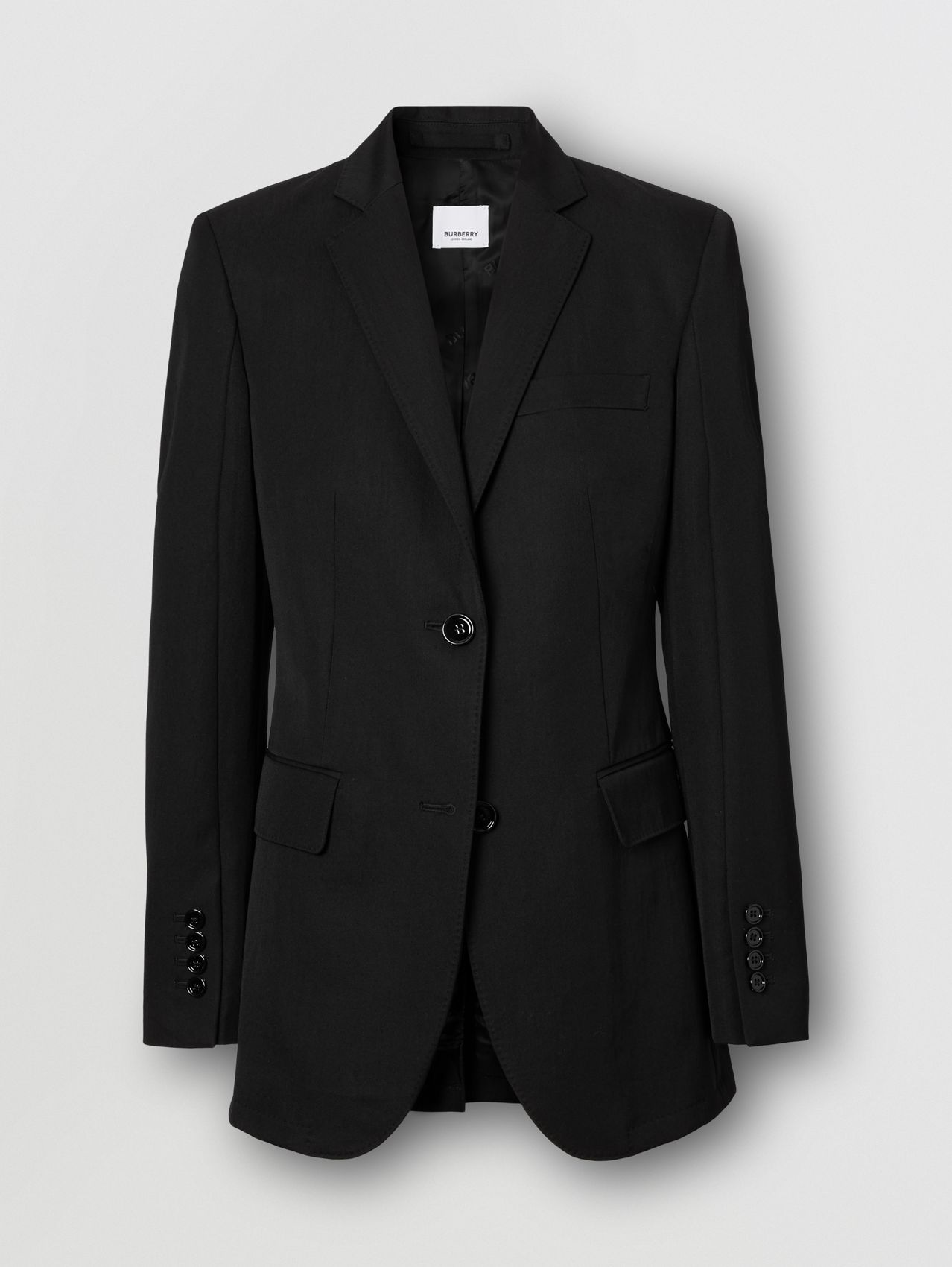 Technical Wool Gabardine Tailored Jacket in Black