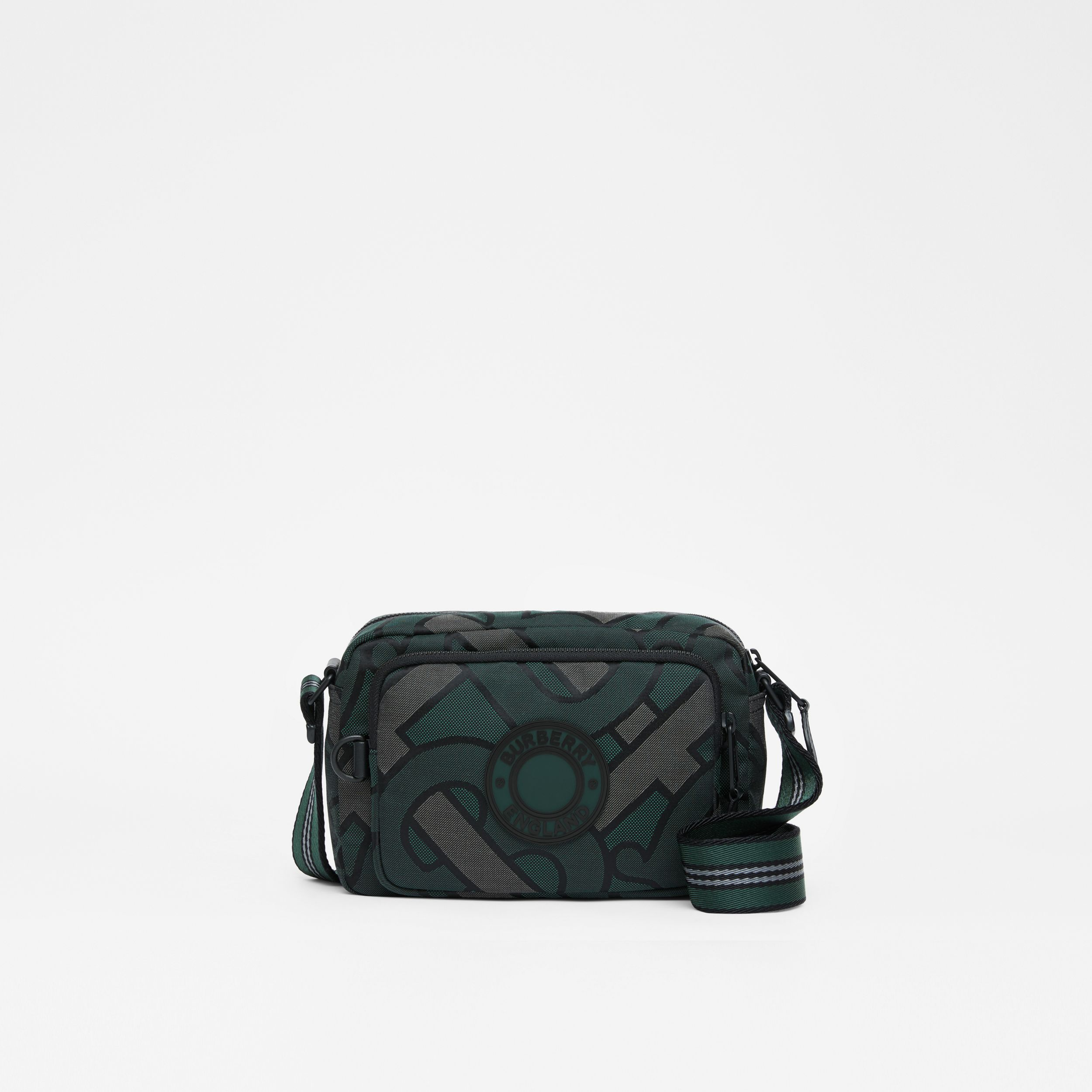 Monogram Recycled Polyester Crossbody Bag in Forest Green - Men | Burberry - 1