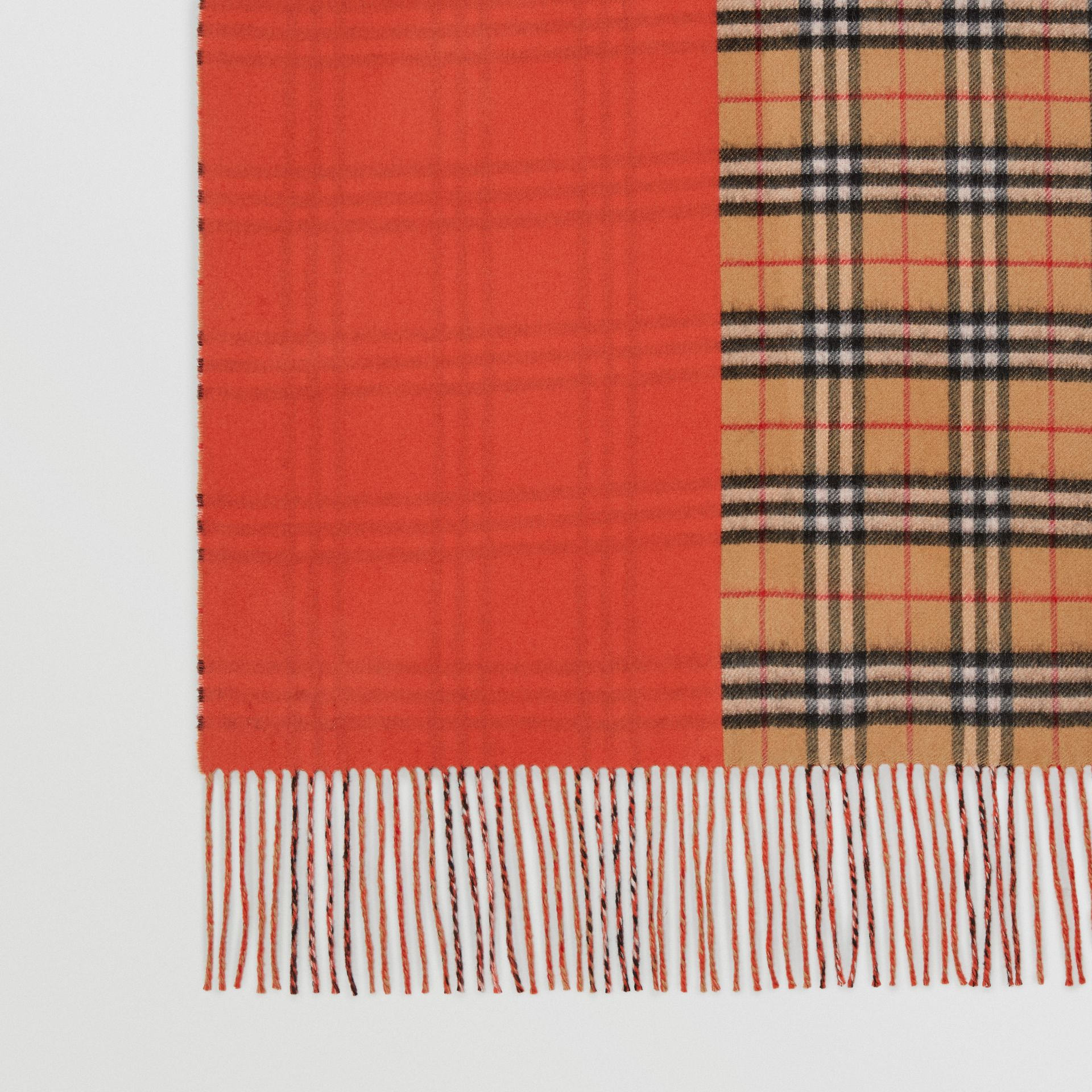 Colour Block Vintage Check Cashmere Scarf in Vibrant Orange | Burberry - gallery image 1