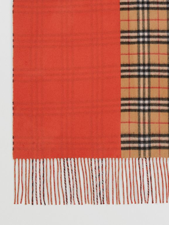 Colour Block Vintage Check Cashmere Scarf in Vibrant Orange | Burberry - cell image 1