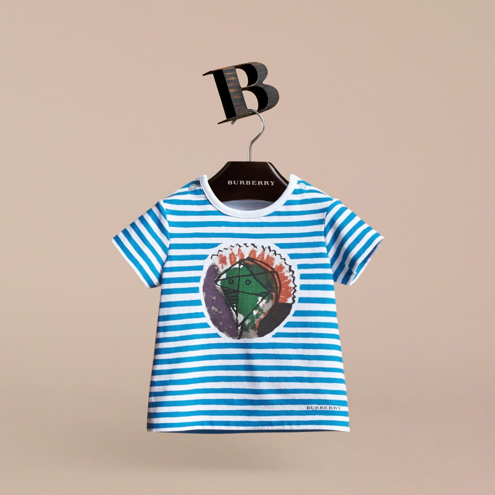 Pallas Heads Print Striped Cotton T-shirt - gallery image 3