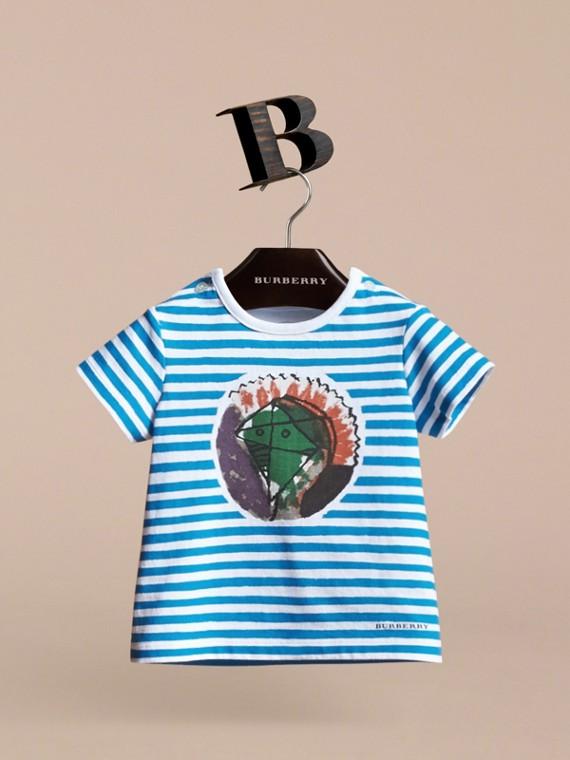 Pallas Heads Print Striped Cotton T-shirt - cell image 2