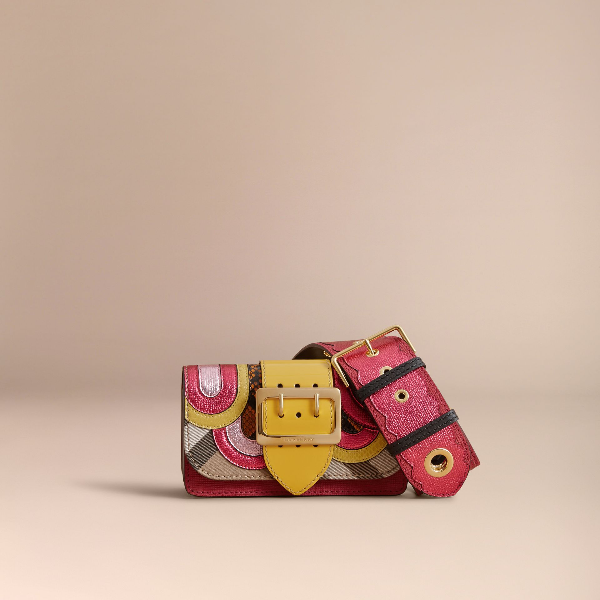 The Small Buckle Bag in House Check and Leather Bright Pink - gallery image 6