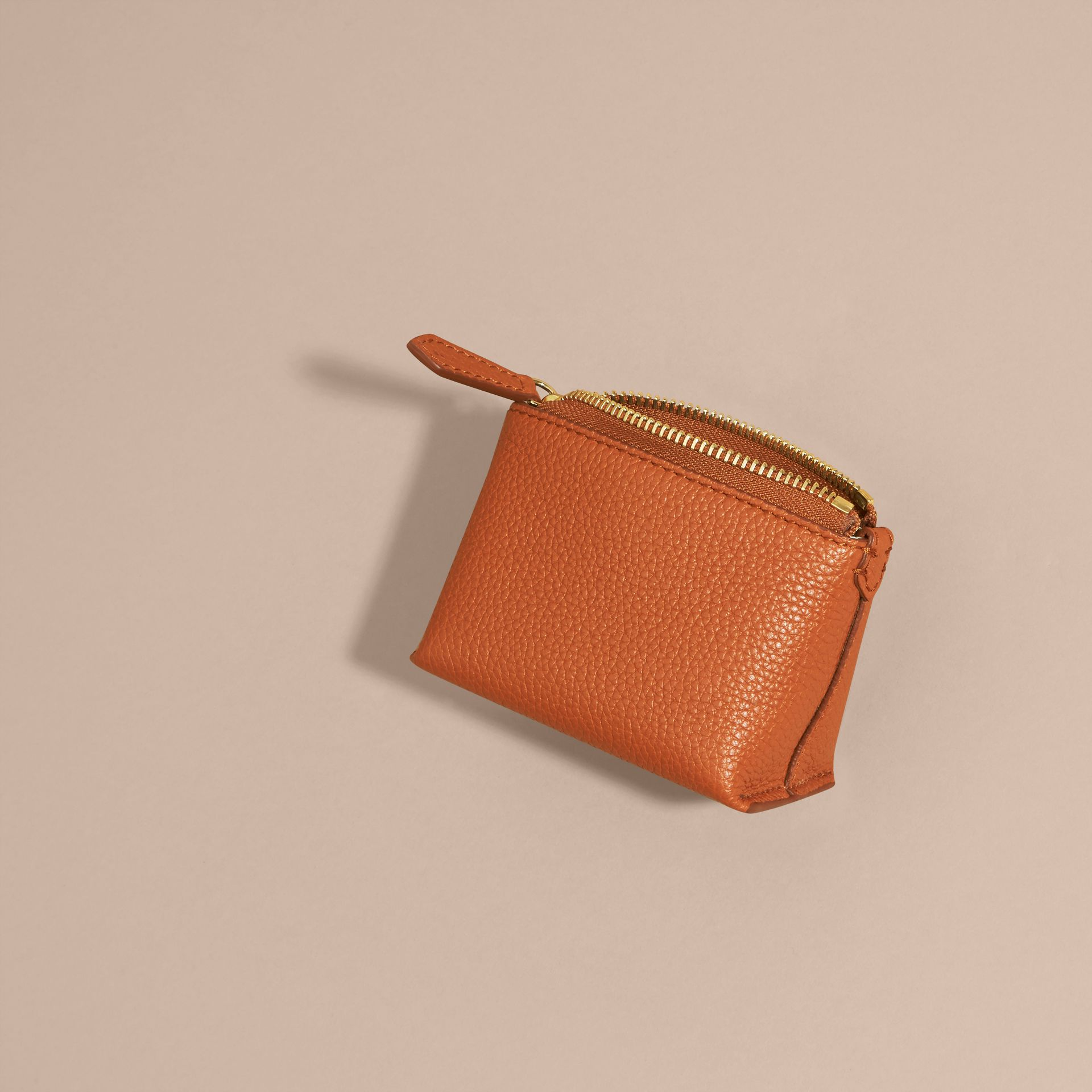Orange umber Grainy Leather Lipstick Case - gallery image 4