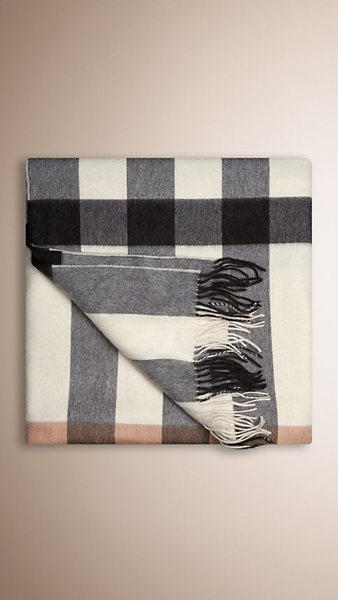 Ivory check Check Cashmere Blanket - Image 2