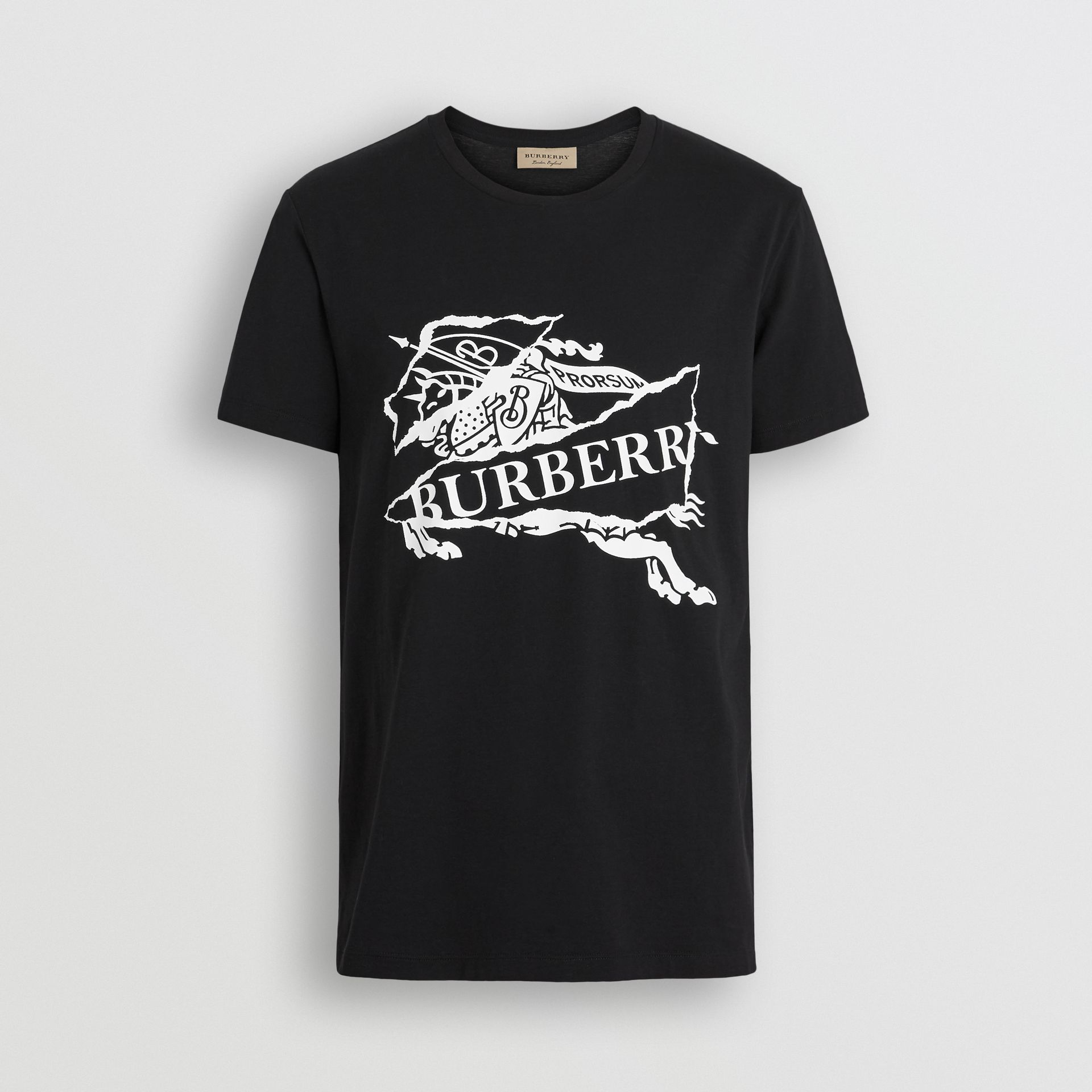 Collage Logo Print Cotton T-shirt in Black - Men | Burberry - gallery image 3