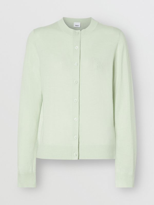 Monogram Motif Cashmere Cardigan in Pistachio - Women | Burberry - cell image 3