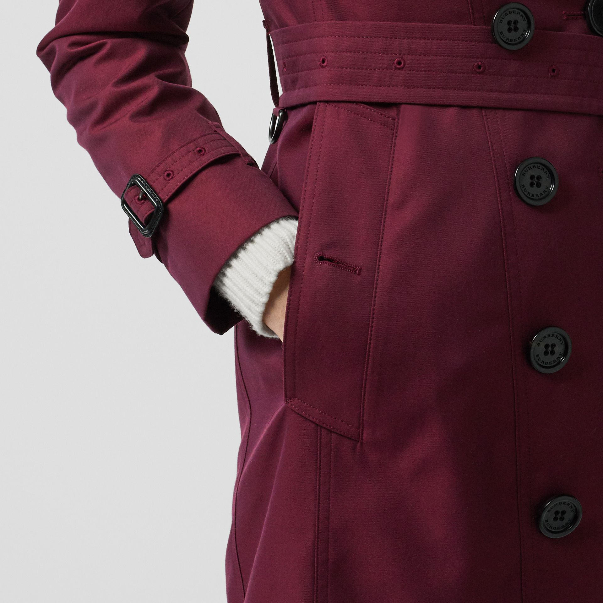 Sandringham Fit Cotton Gabardine Trench Coat in Crimson - Women | Burberry - gallery image 4