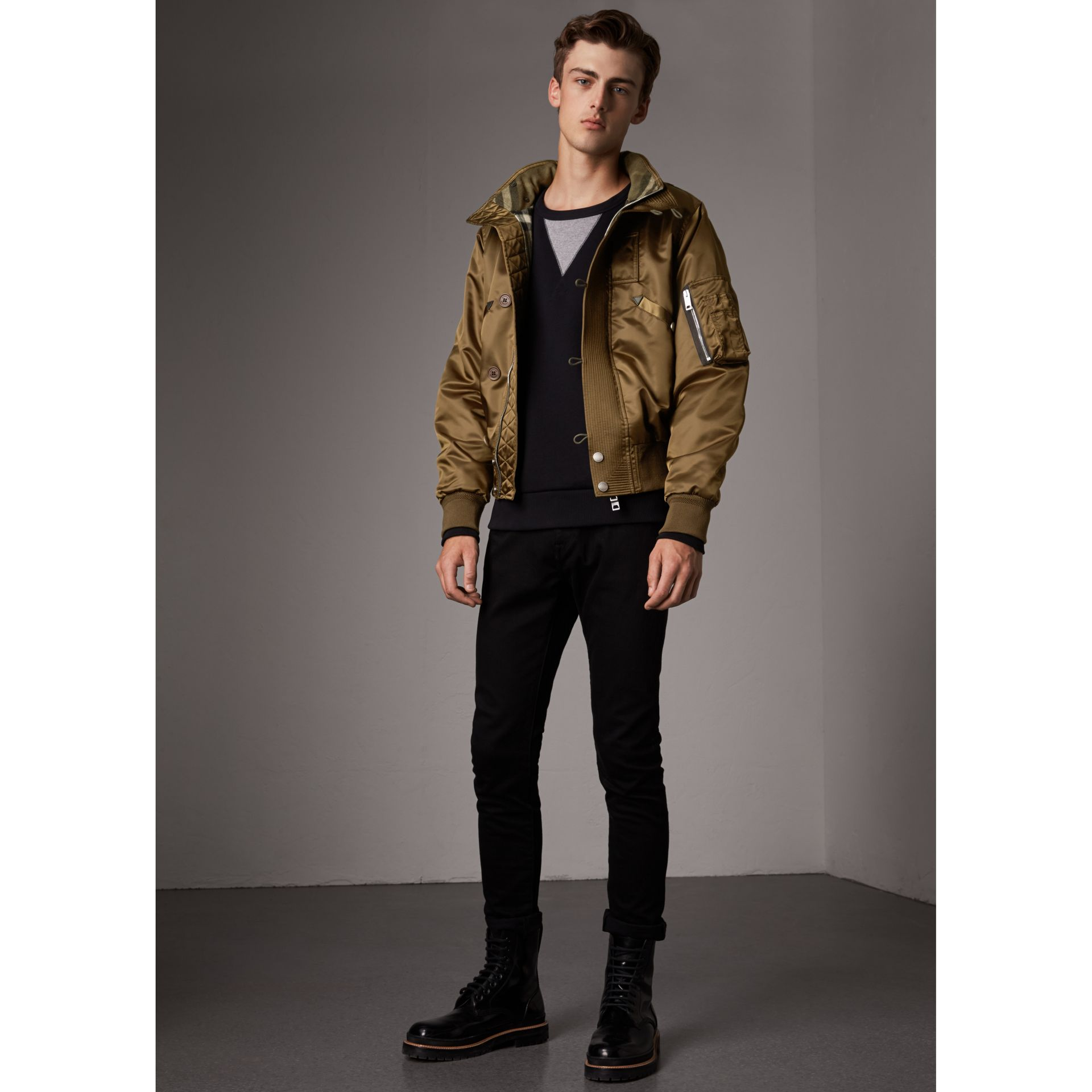 Nylon Bomber Jacket with Packaway Hood in Khaki Brown - Men | Burberry - gallery image 1
