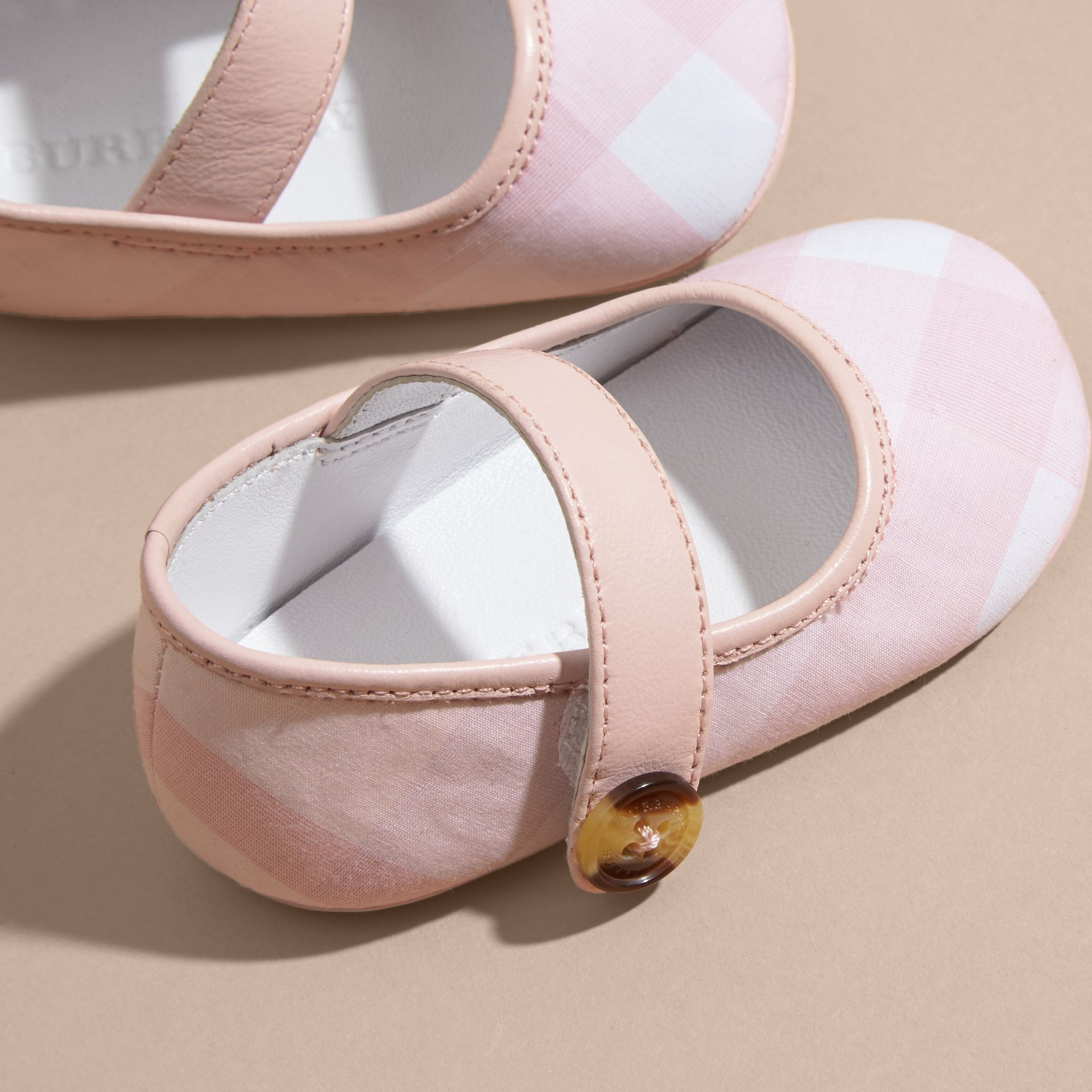 Leather and Tonal Check Cotton Shoes in Ice Pink | Burberry - gallery image 2