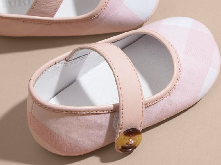 Ice pink Leather and Tonal Check Cotton Shoes - cell image 1