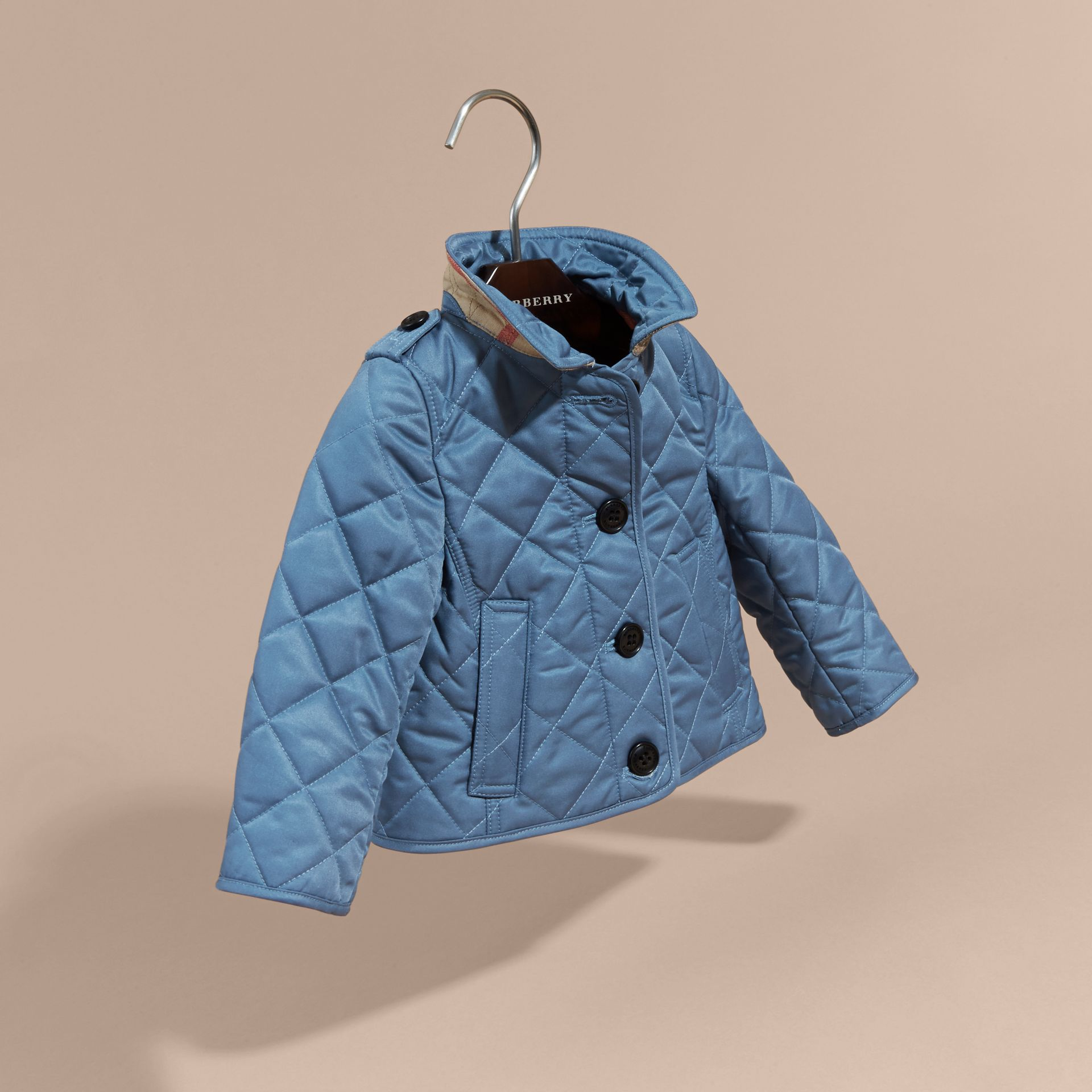 Pale pewter blue Check Detail Quilted Jacket - gallery image 3