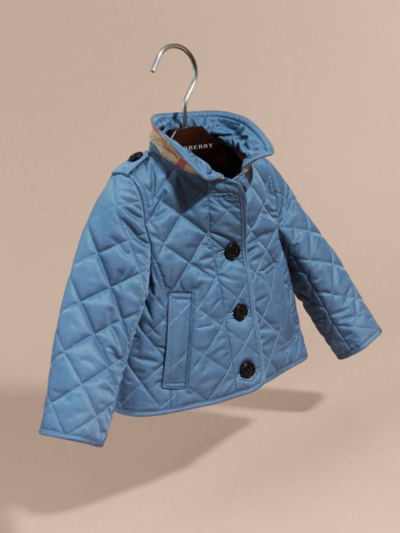 Pale pewter blue Check Detail Quilted Jacket - cell image 2