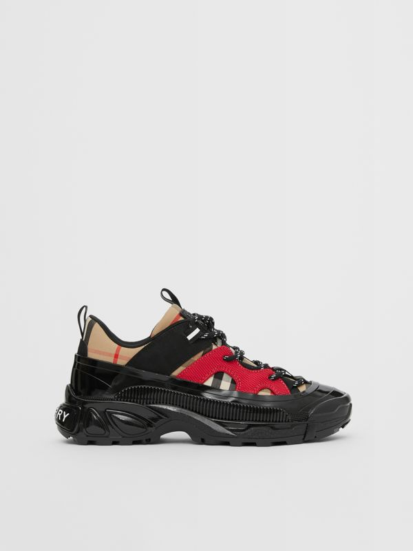 Vintage Check Cotton and Nubuck Sneakers in Black/bright Red - Children | Burberry United States - cell image 3