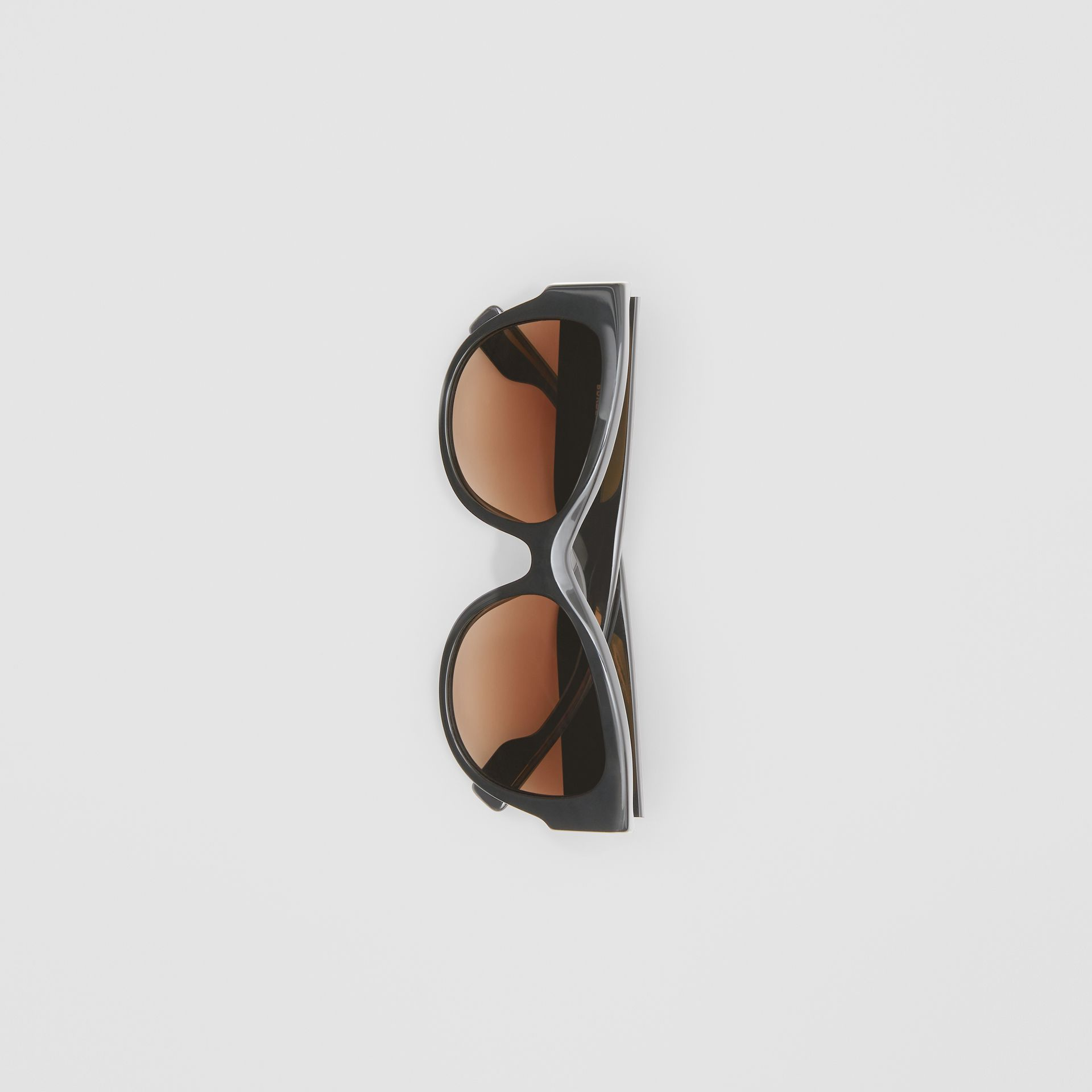 Monogram Detail Butterfly Frame Sunglasses in Black / Beige - Women | Burberry - gallery image 2
