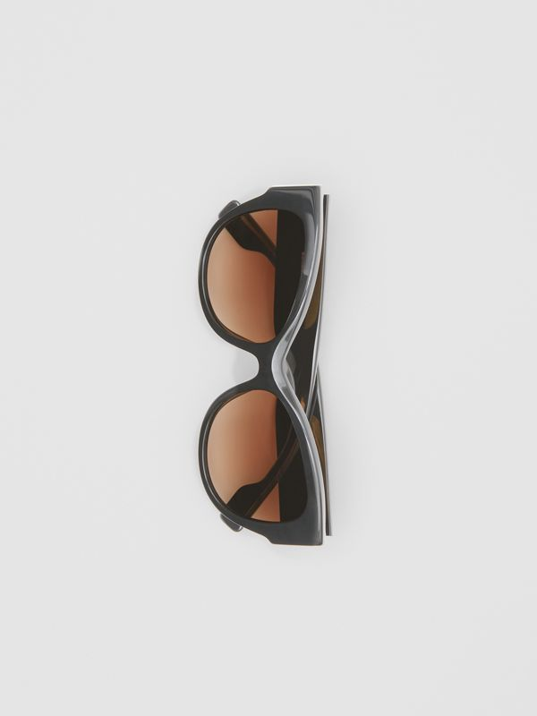 Monogram Detail Butterfly Frame Sunglasses in Black / Beige - Women | Burberry - cell image 2