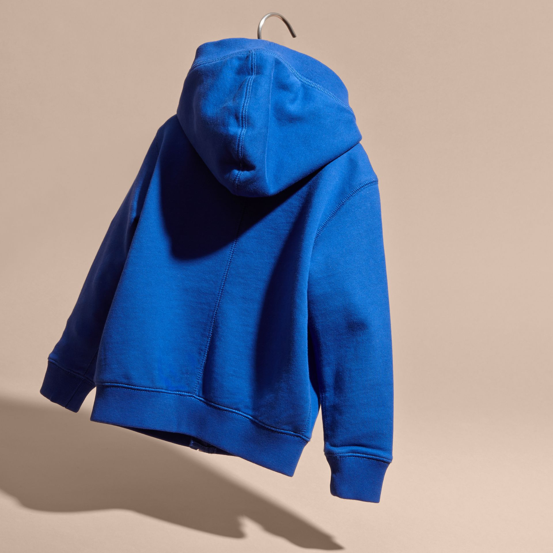 Brilliant blue Hooded Cotton Top Brilliant Blue - gallery image 4