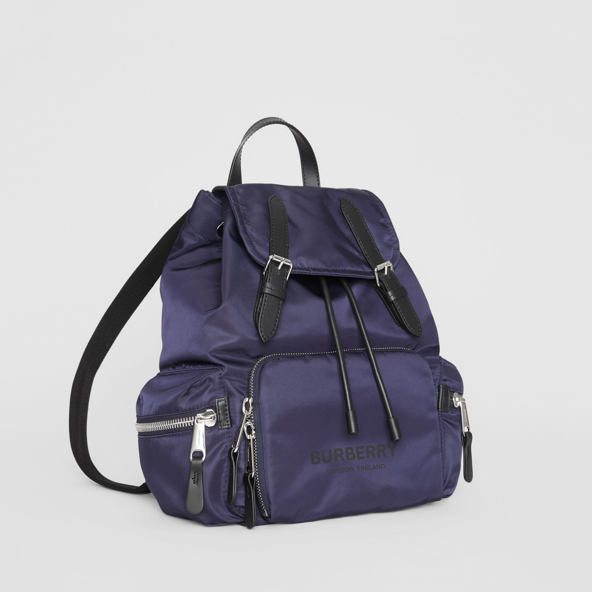 The Medium Rucksack in Logo Print Nylon in Navy Blue - Women | Burberry Australia - gallery image 6