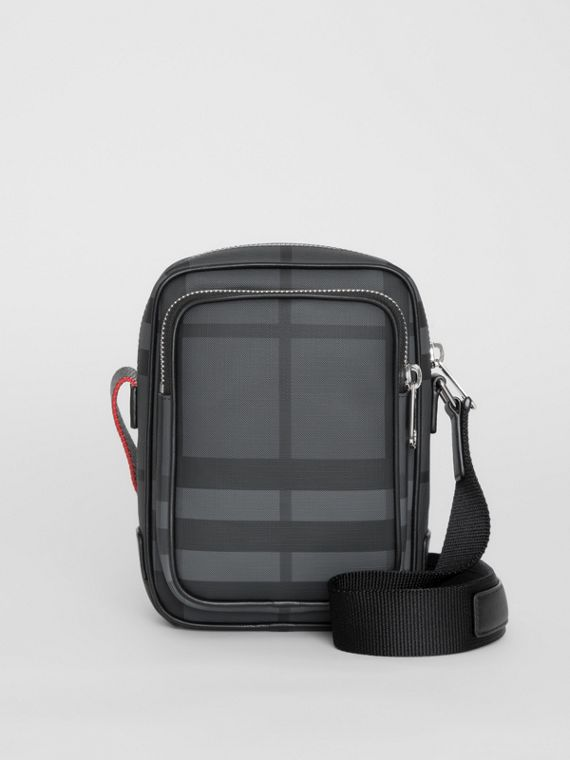Small London Check Crossbody Bag in Charcoal/black