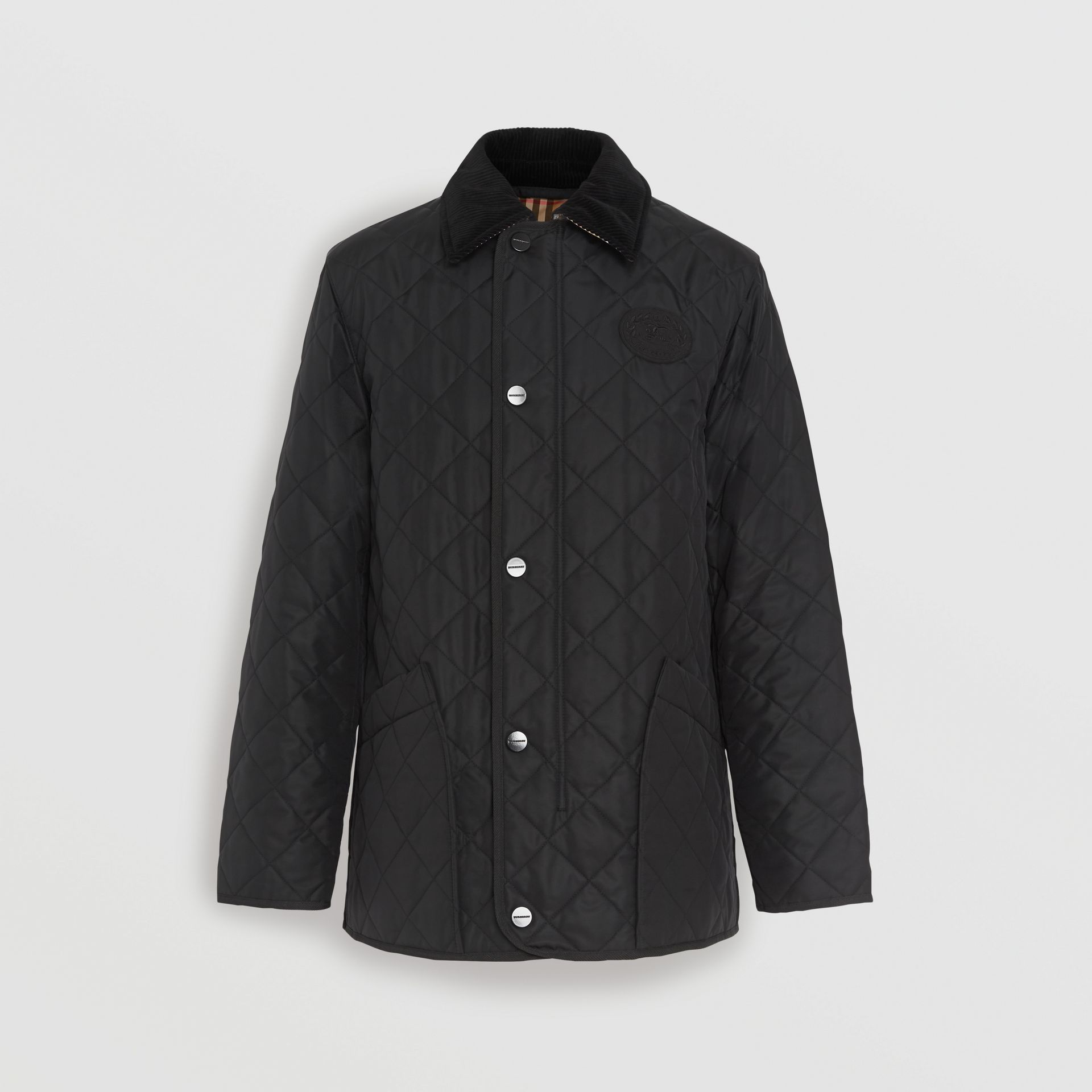 Diamond Quilted Thermoregulated Barn Jacket in Black - Men | Burberry United Kingdom - gallery image 7