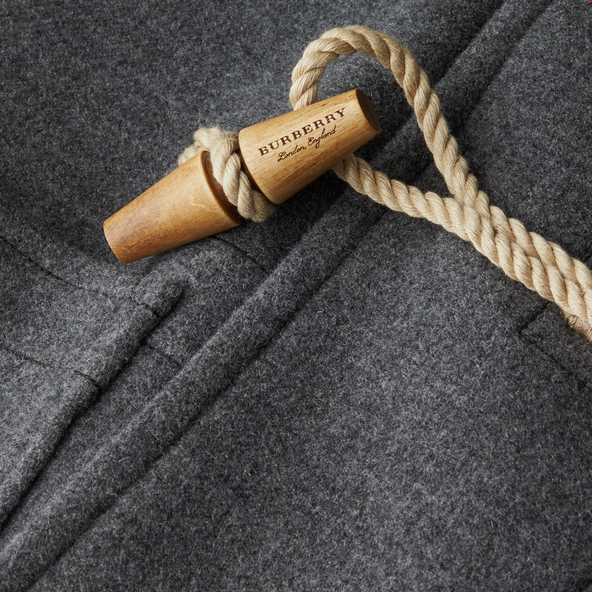 Mid grey Double Splittable Wool Blend Duffle Coat - gallery image 2