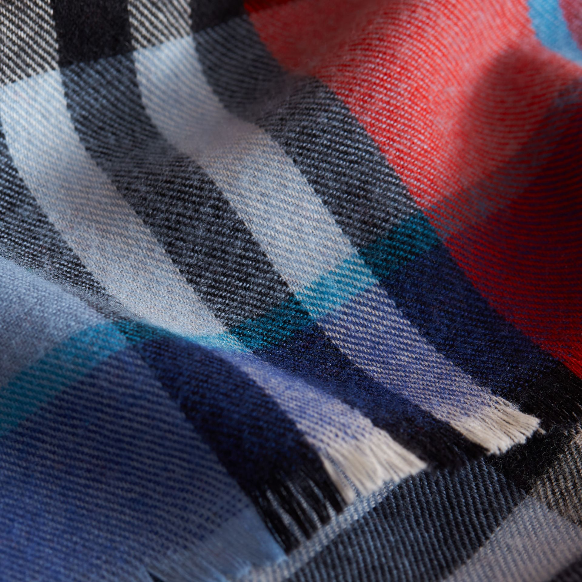 Overdyed Exploded Check Merino Wool Scarf in Bright Orange Red/cornflower Blue | Burberry Australia - gallery image 2