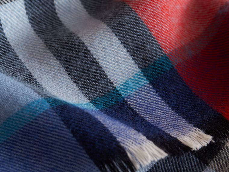 Overdyed Exploded Check Merino Wool Scarf in Bright Orange Red/cornflower Blue | Burberry - cell image 1