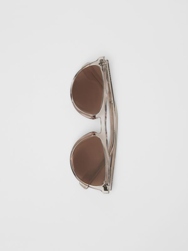 Keyhole D-shaped Sunglasses in Grey - Men | Burberry - cell image 3