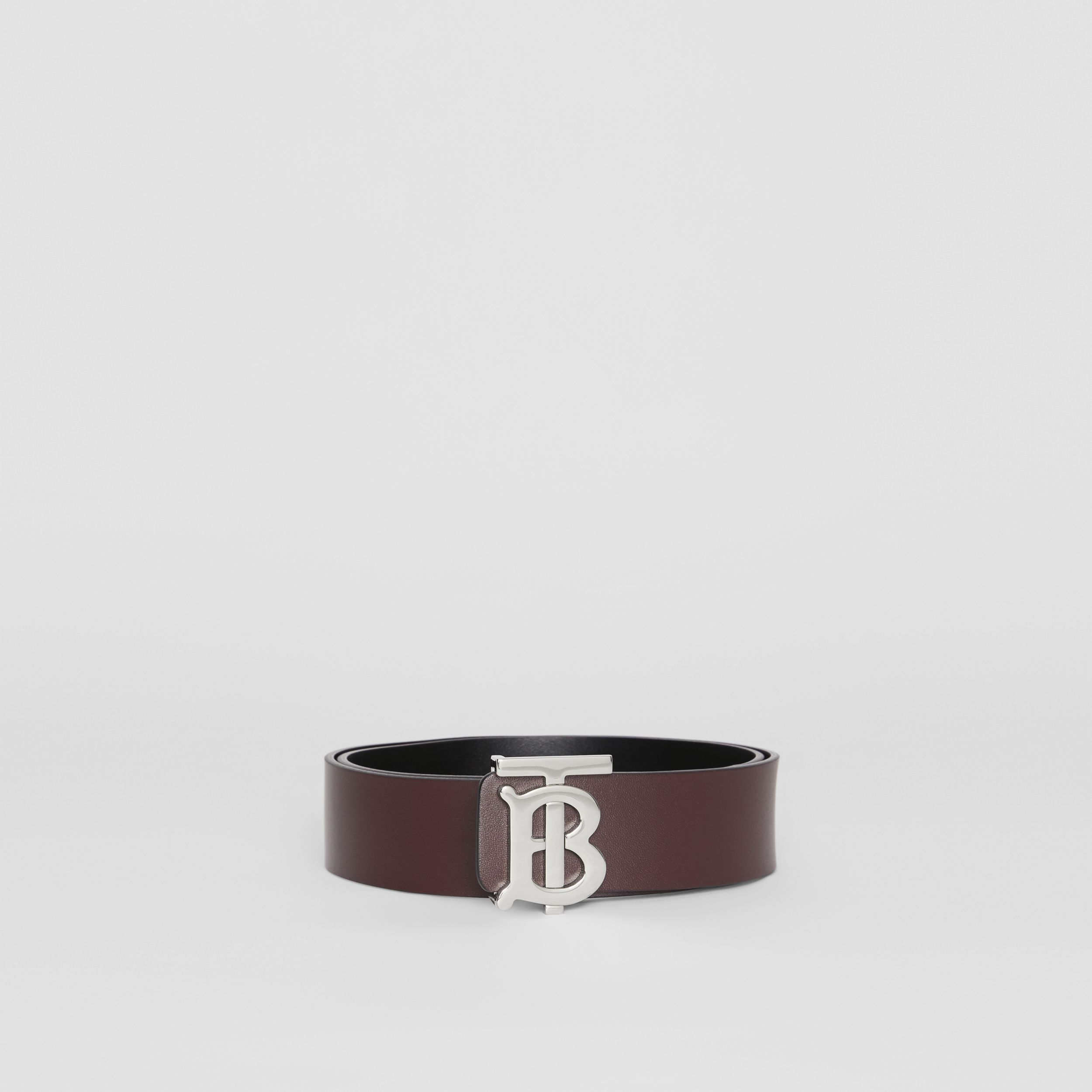 Reversible Monogram Motif Leather Belt in Oxblood - Men | Burberry United States - 3
