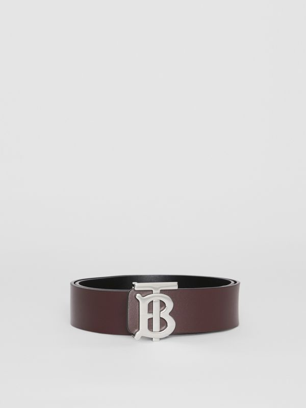 Reversible Monogram Motif Leather Belt in Oxblood - Men | Burberry United Kingdom - cell image 2