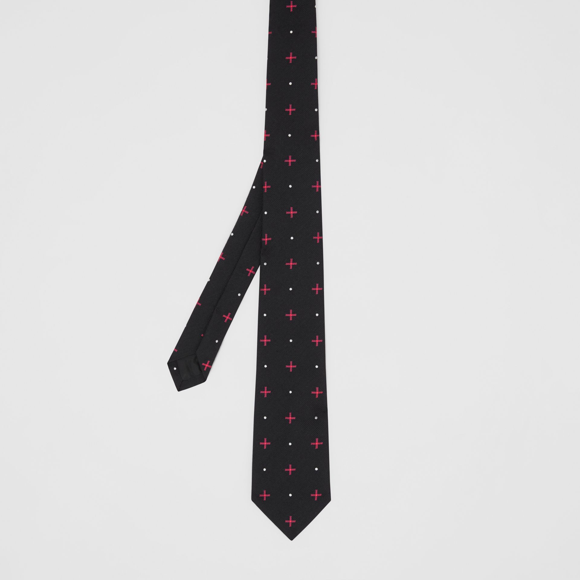 Classic Cut Graphic Silk Wool Jacquard Tie in Black - Men | Burberry United States - gallery image 4