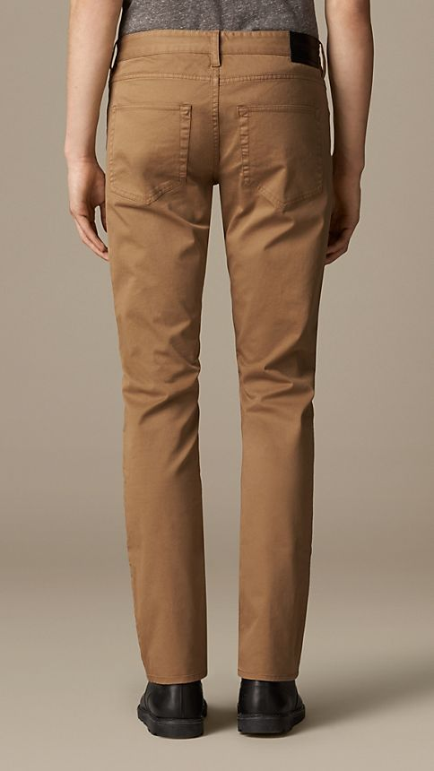 Seed brown Straight Fit Stretch-Cotton Trousers - Image 2