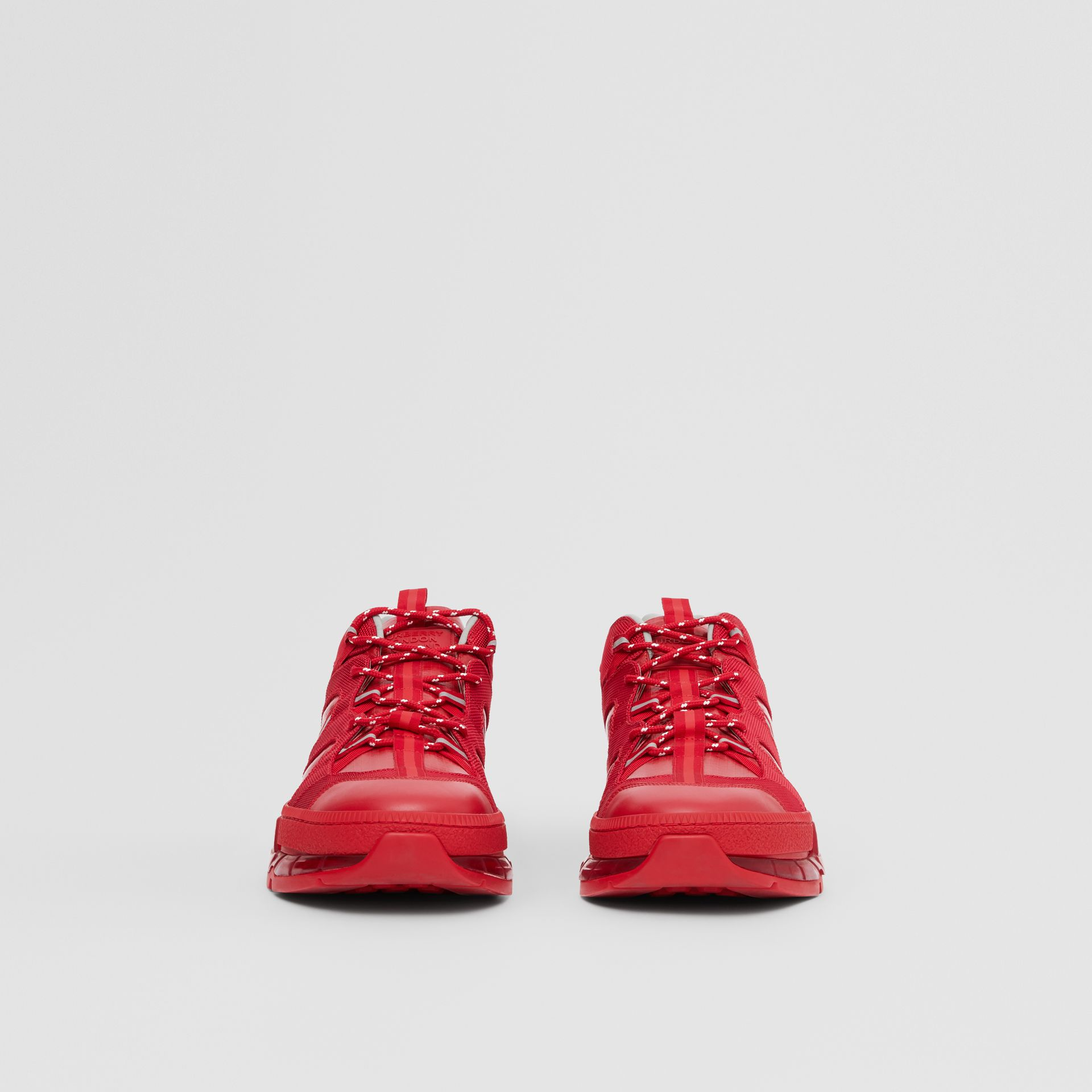 Nylon and Leather Union Sneakers in Bright Red - Women   Burberry - gallery image 1