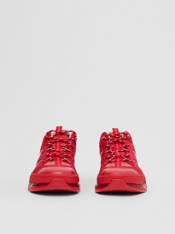Nylon and Leather Union Sneakers in Bright Red - Women | Burberry - cell image 1