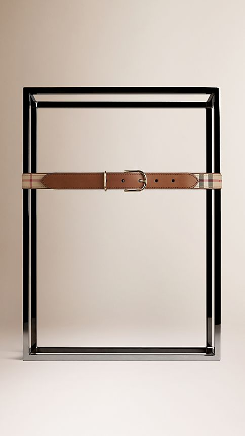 Honey/tan Horseferry Check and Leather Belt - Image 2