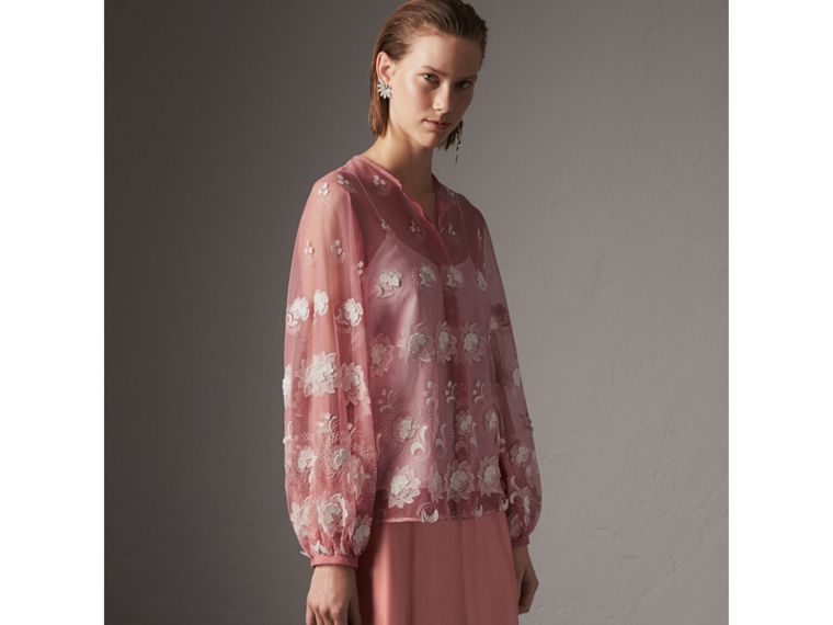 Puff-sleeve Embroidered Tulle Blouse in Rose Pink/white - Women | Burberry Singapore - cell image 4